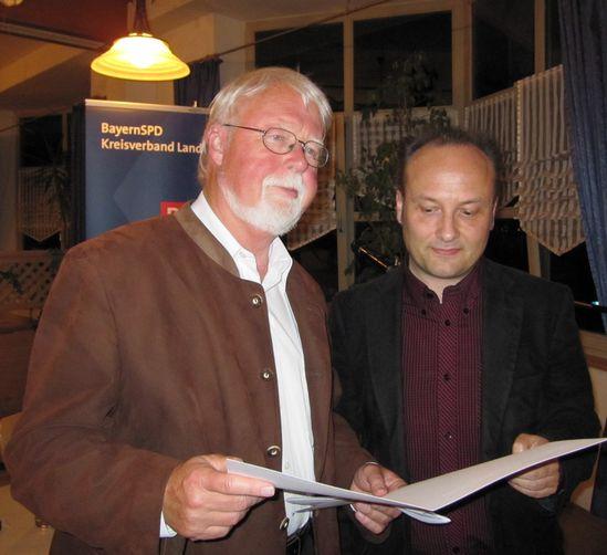 MdB a. D. Horst Kubatschka erhält den Ehrenbrief von Harald Unfried