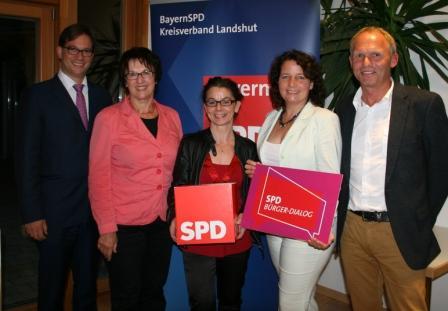 MdB Florian Pronold, MdB Brigitte Zypries, Anja König, Ruth Müller und Armin Reiseck